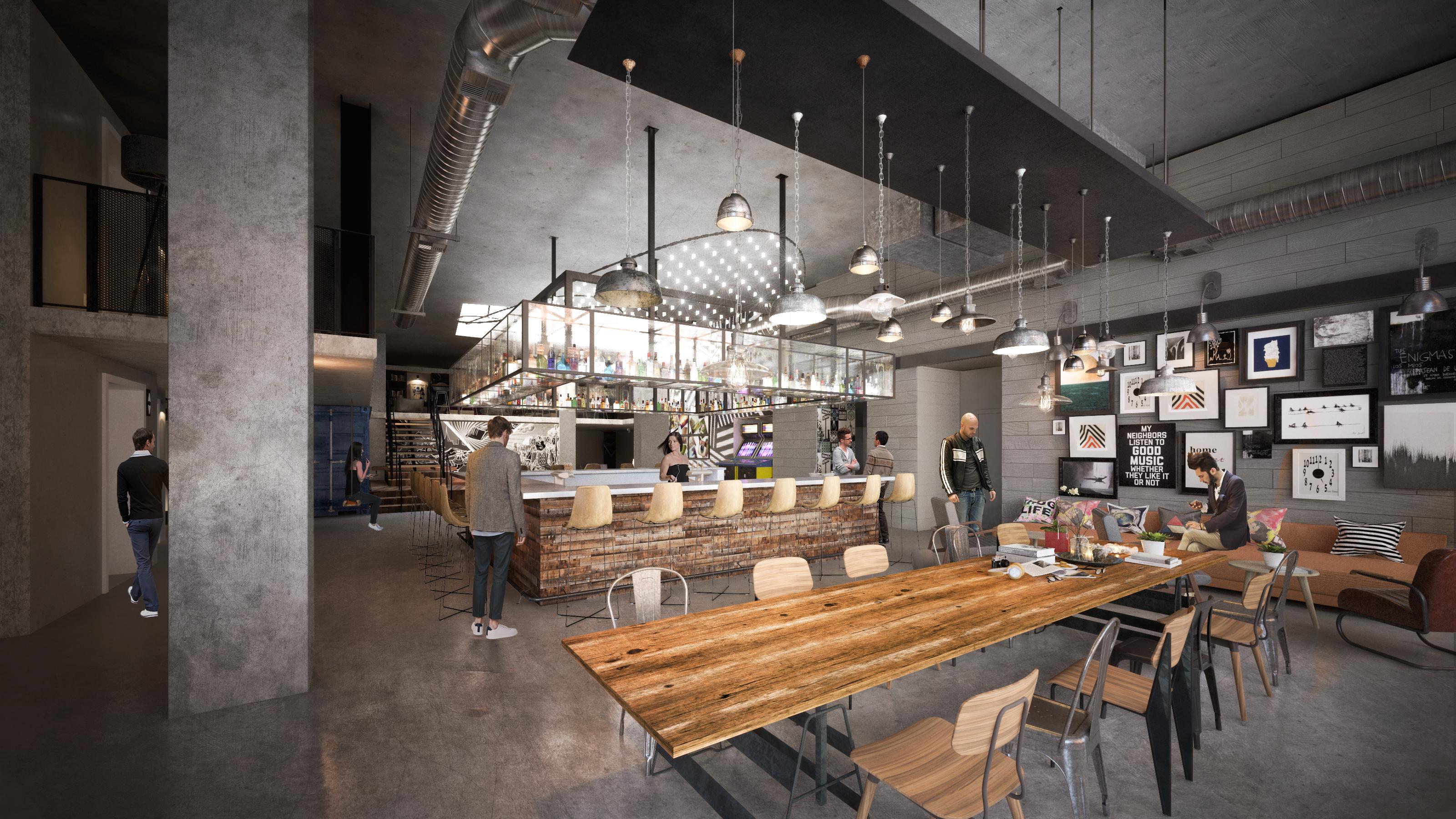 Moxy San Diego Lobby rendering